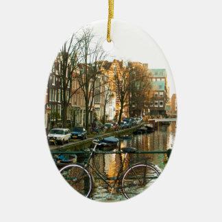 Amsterdam Bicicle Ceramic Oval Decoration