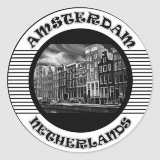 AMSTERDAM BLACK AND WHITE CLASSIC ROUND STICKER