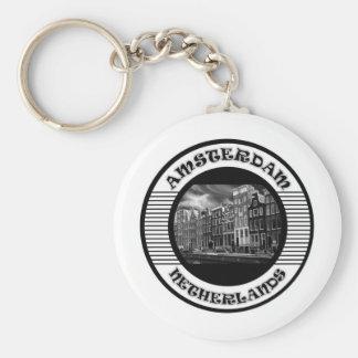 AMSTERDAM BLACK AND WHITE KEY RING