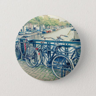 Amsterdam canal and bicycles 6 cm round badge