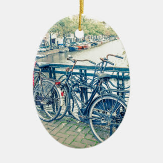 Amsterdam canal and bicycles ceramic oval decoration