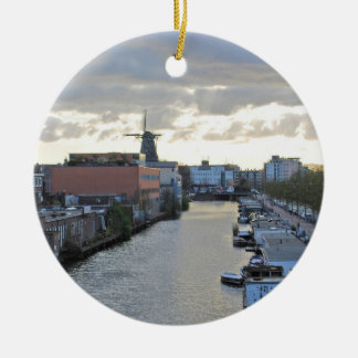 Amsterdam Canal and Windmill with setting Sun Christmas Ornament
