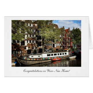 Amsterdam Canal Barge, Congratulations on New Home Greeting Card