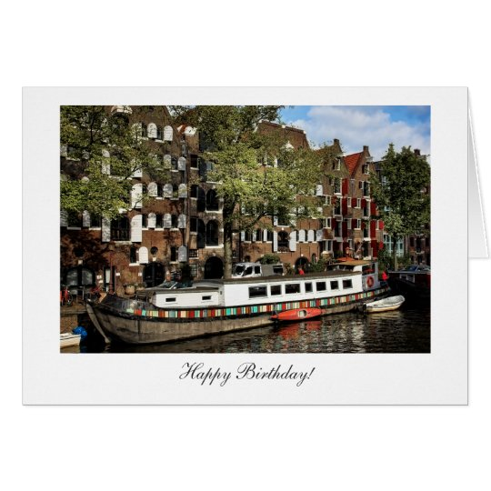 Amsterdam Canal Barge - Happy Birthday Card