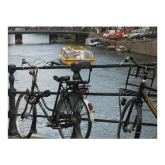 Amsterdam Canal Boat Bridge & Bikes Photo Poster