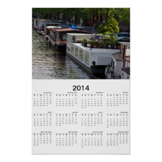 Amsterdam Canal Boat Hause 2014 Calendar Poster
