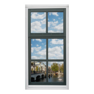 Amsterdam Canal Cityscape Fake Window View Poster