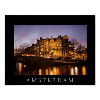 Amsterdam canal houses at dusk black poster