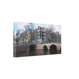 Amsterdam Canal Houses & Bridges Wrapped Canvas Stretched Canvas Print