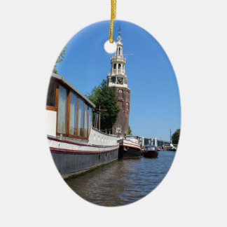 Amsterdam canal view - Boats and spire Christmas Ornament