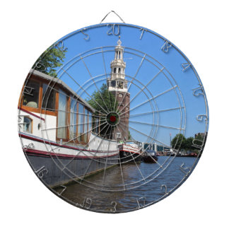 Amsterdam canal view - Boats and spire Dartboard