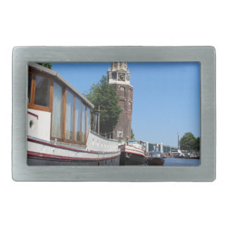 Amsterdam canal view - Boats and spire Rectangular Belt Buckle