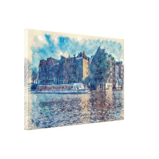 "Amsterdam Canal, Watercolor  36"" x 24""  Canvas Gallery Wrapped Canvas"