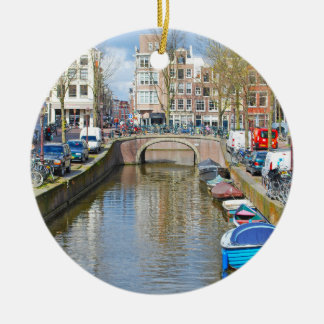 Amsterdam Canal with boats Christmas Ornament