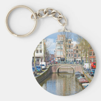 Amsterdam Canal with boats Key Ring