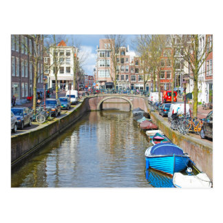 Amsterdam Canal with boats Postcard