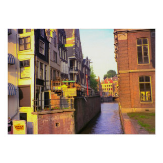 Amsterdam, canals and tall buildings poster