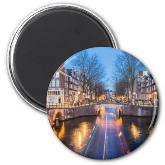 Amsterdam Canals at Night 6 Cm Round Magnet