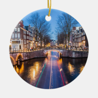 Amsterdam Canals at Night Christmas Ornament