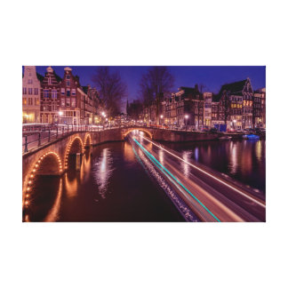 Amsterdam canals by night canvas stretched canvas prints