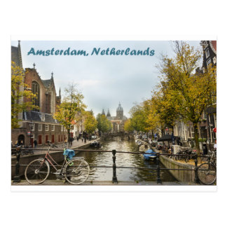 Amsterdam Canals in the Autumn Postacrd Postcard