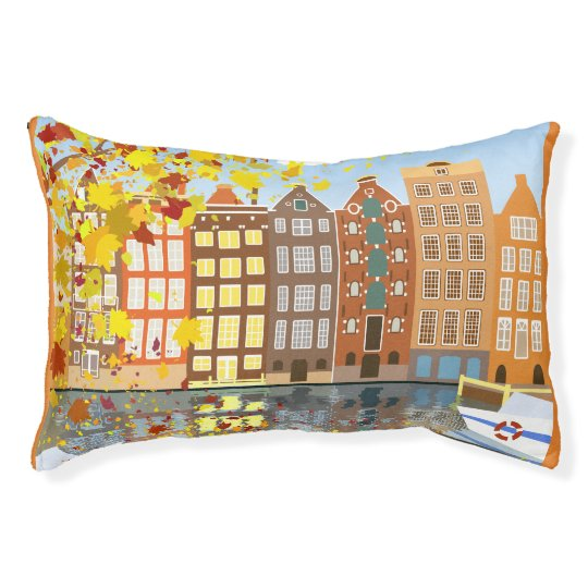 Amsterdam City Autumn Colourful Indoor Dog Bed