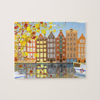 Amsterdam City Autumn Puzzle with Gift Box