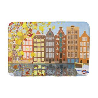Amsterdam City Canal Autumn Colorful Bath Mat