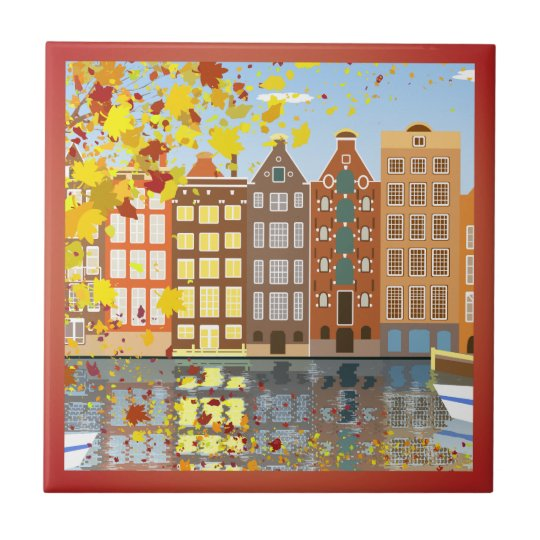 Amsterdam City Canal Autumn Colourful Ceramic Tile