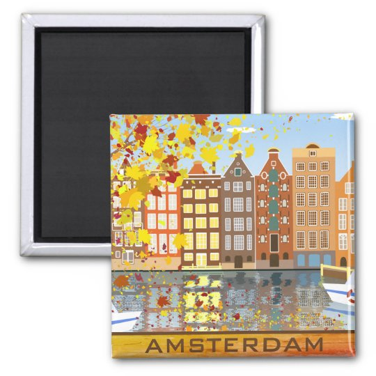 Amsterdam City Canal Autumn Colourful Fall Magnet