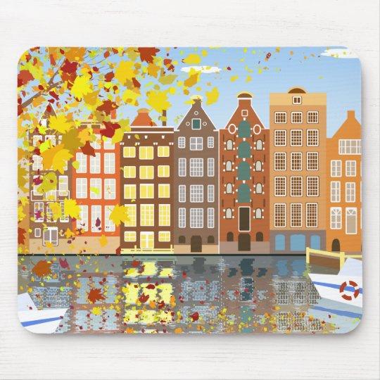 Amsterdam City Canal Autumn Colourful Mousepad