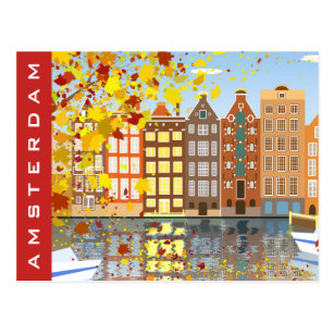 Amsterdam City Canal Autumn Colourful Postcard