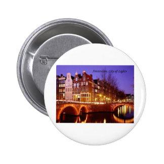 Amsterdam, City of Lights (by St.K.) 6 Cm Round Badge