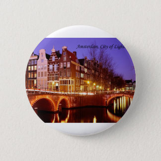 Amsterdam, City of Lights (by St.K.) 6 Cm Round Badge