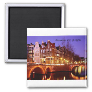Amsterdam, City of Lights (by St.K.) Square Magnet