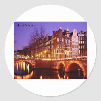 Amsterdam--City of lights [kan.k]. Classic Round Sticker