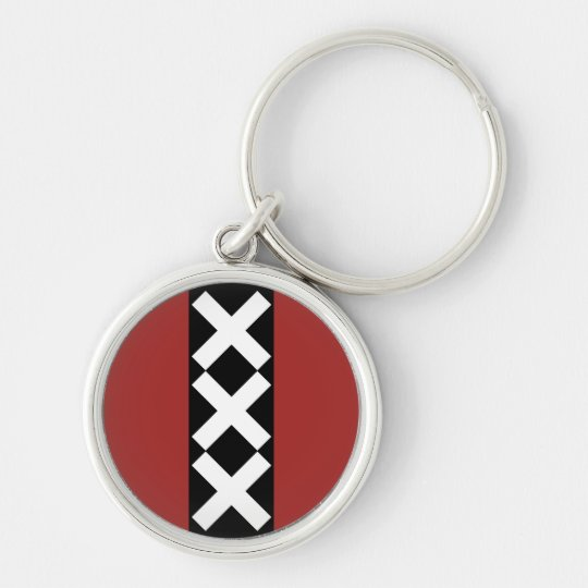 Amsterdam Coat of Arms. Silver-Colored Round Key Ring