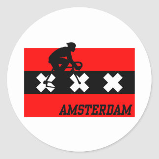 Amsterdam Cycling Male Classic Round Sticker