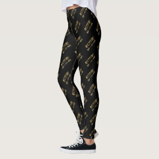 Amsterdam Dutch Black and Gold Look Typography Leggings