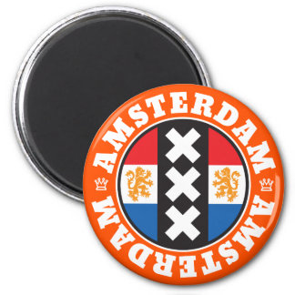 Amsterdam Dutch Flag and City Crosses Symbol 6 Cm Round Magnet