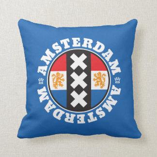 Amsterdam Dutch Flag and City Crosses Symbol Cushion