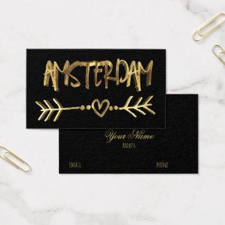 Amsterdam Dutch Love Black Gold Typography Elegant Business Card