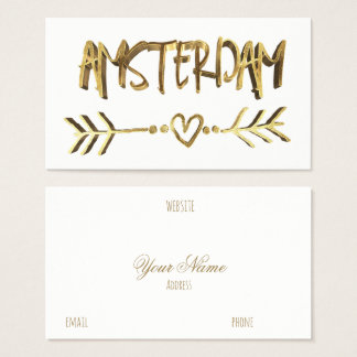Amsterdam Dutch Love  Gold Look Typography Elegant Business Card
