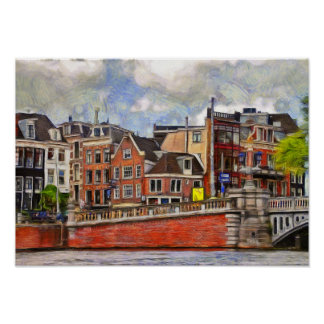 Amsterdam. Embankment of the Amstel Poster