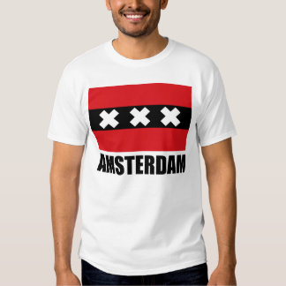 Amsterdam Flag Black Text T-shirt