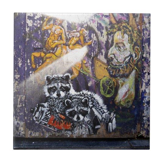 Amsterdam Graffiti Street Art Nr. 1 - Racoon Small Square Tile