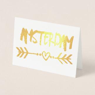 Amsterdam Heart Arrow Gold Foil Elegant Typography Foil Card