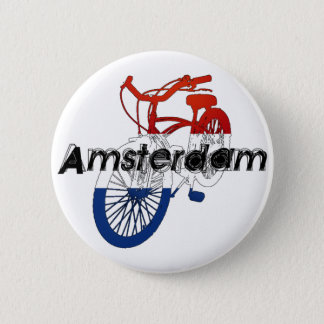 Amsterdam Holland Netherlands Cycling 6 Cm Round Badge