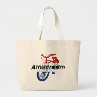 Amsterdam Holland Netherlands Cycling Large Tote Bag