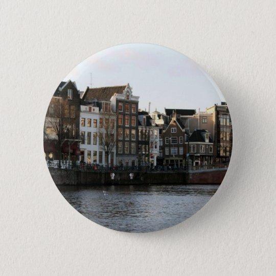 Amsterdam Houses 6 Cm Round Badge